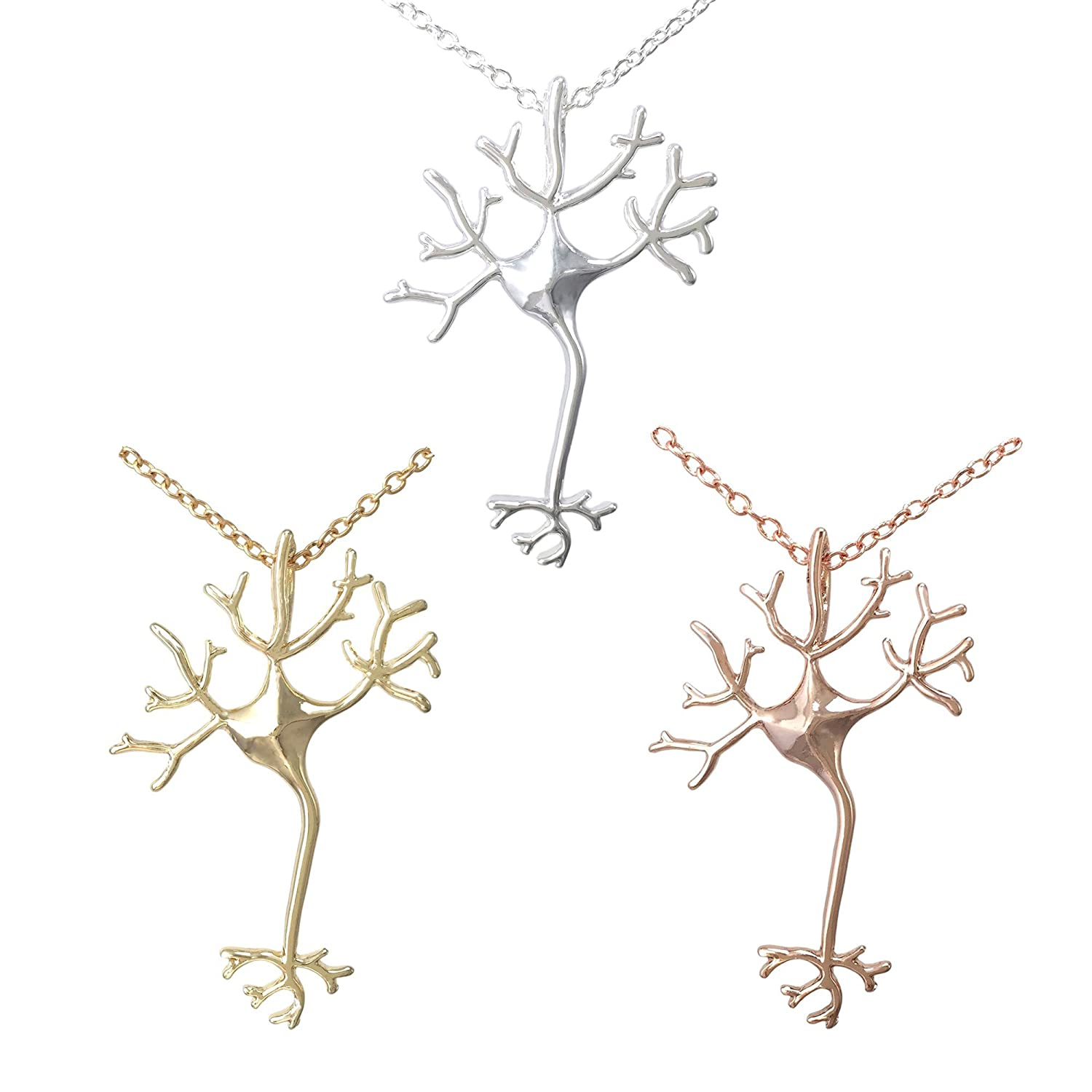 COS (TM) Set of 3 Nerve Cell Necklaces Silver, Gold, and Rose Gold Plated