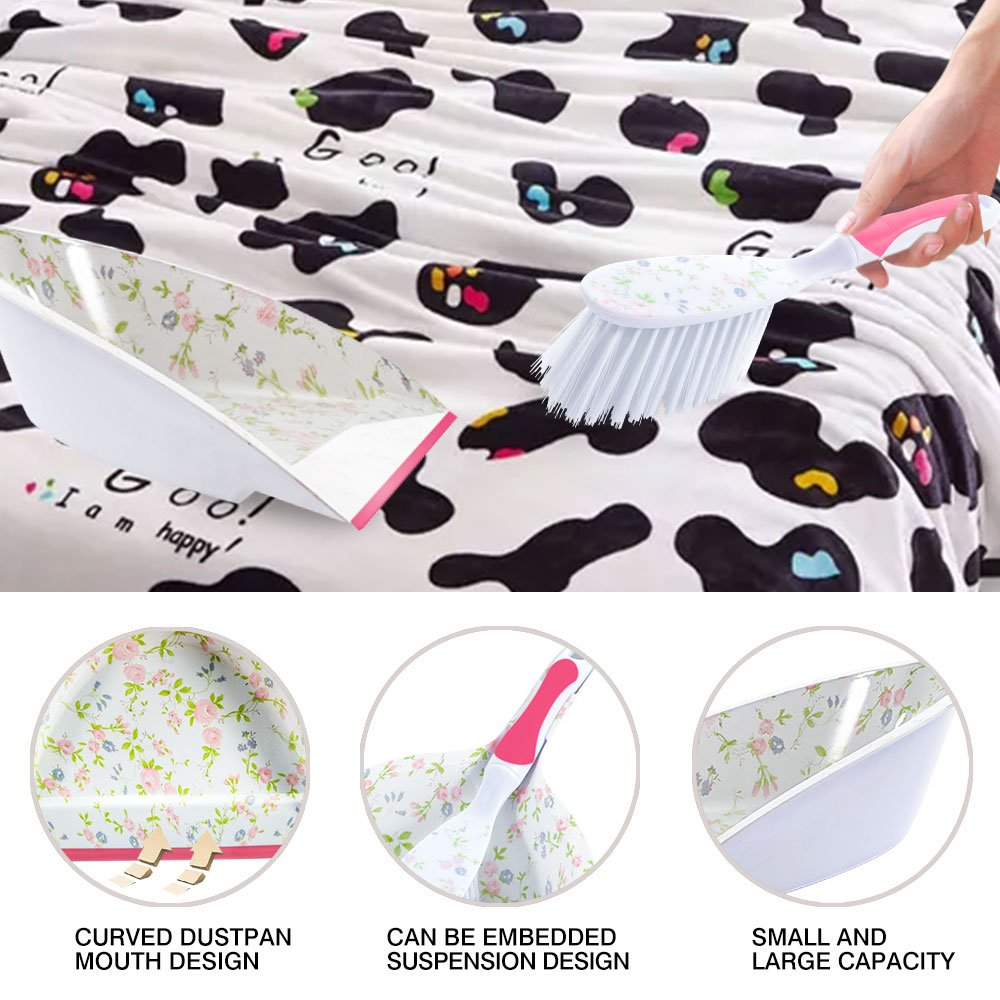 Masthome Printed Cleaning Dustpan Set With Dish Brush &Scrubber Brush 4-piece Cleaning Set by Masthome (Image #2)
