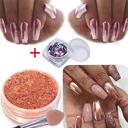 Igemy Sexy Rose Gold - Polvo brillante cromado efecto espejo para decorar uñas. Pasa el ratón por ...