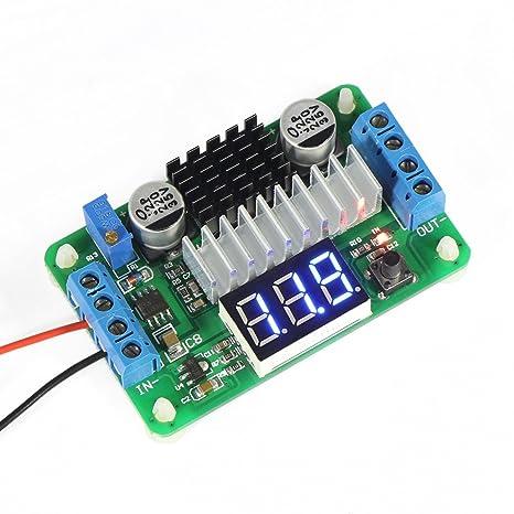 DROK® LTC187 DC convertidor del alza 3.5-30V 100W Fuente de alimentación del regulador de voltaje 5V / 12V Paso arriba un módulo voltios con un voltímetro ...