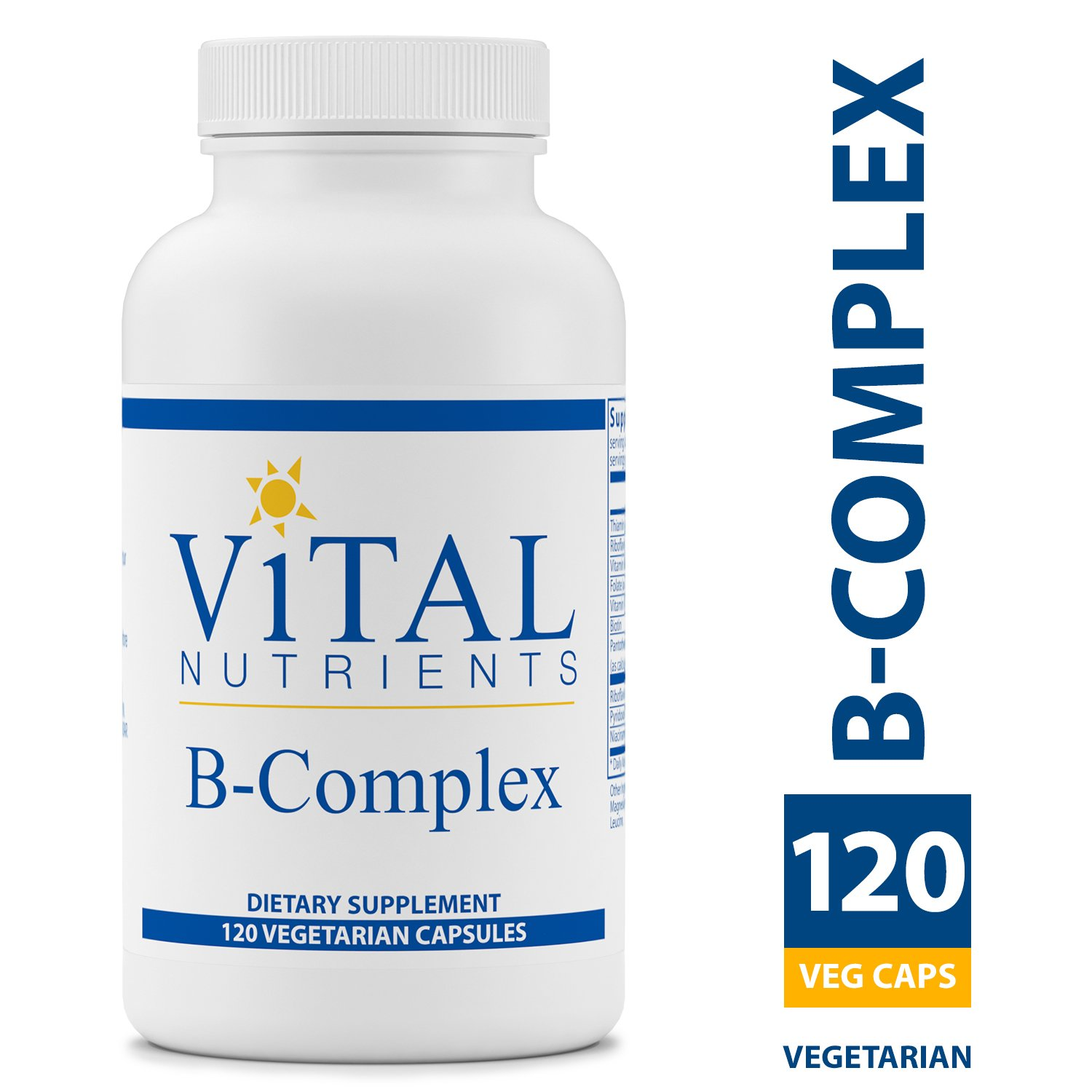 Vital Nutrients - B-Complex - Balanced High Potency B Vitamin Complex - Supports Energy Production, Metabolism and Heart Health - Gluten Free - 120 Vegetarian Capsules per Bottle by Vital Nutrients