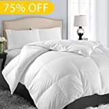 Soft Goose Down Alternative Comforter Luxury Hotel Collection Reversible Duvet Insert with Corner Tab,Warm Fluffy for All Season,White,Full/Queen,88 by 88 Inches