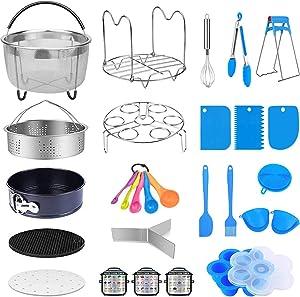 MONYES 21 Pcs Pressure Cooker Accessories Compatible with 5,6,8 Qt Instant Pot, Steamer Basket Kitchen Tong Plate Gripper Egg Beater Springform Pan Egg Steamer Rack(Blue)