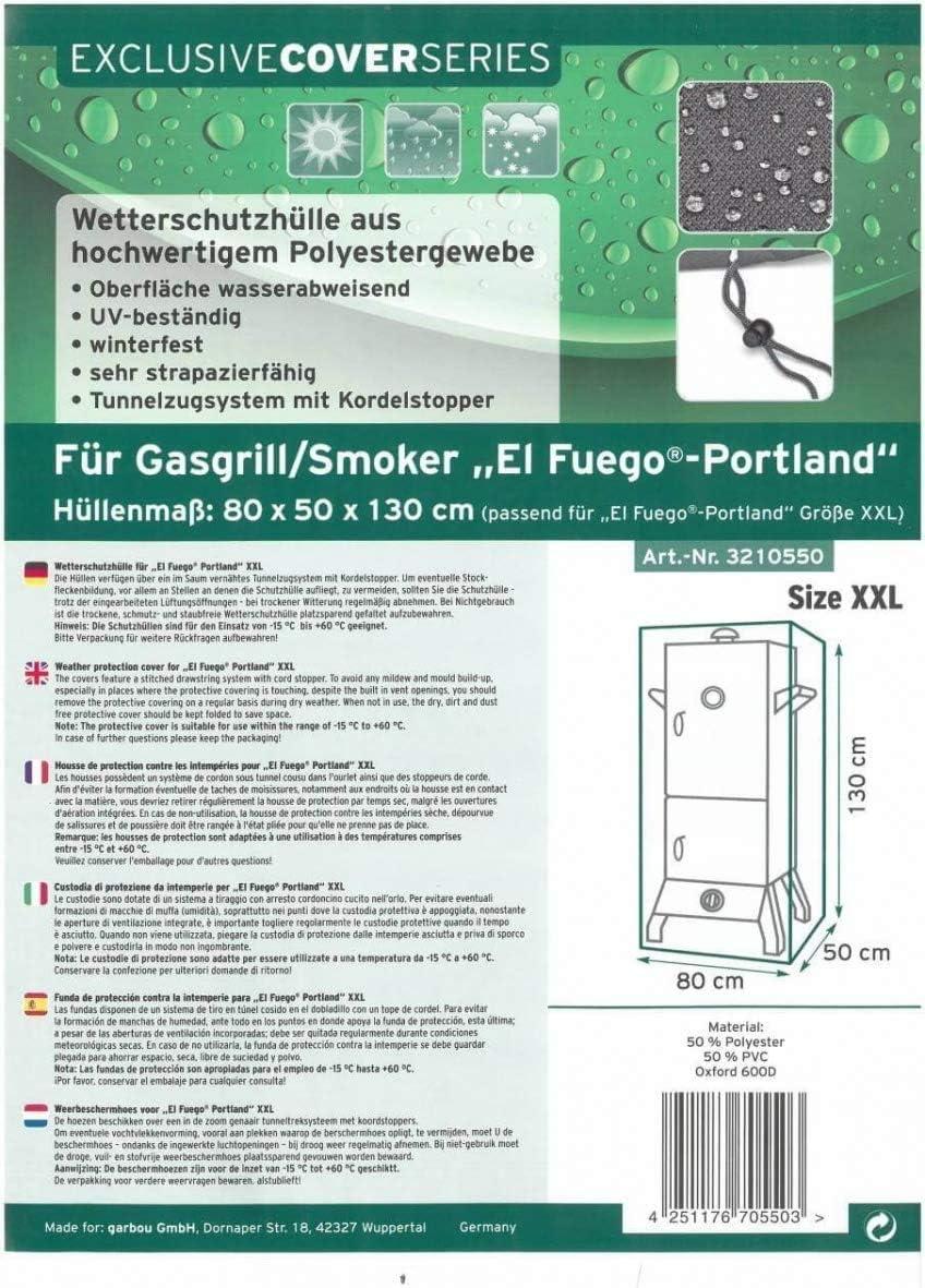 Farbe Anthrazit Schutz vor UV-Strahlung Abdeckhaube f/ür Grill Portland XXL von EL Fuego/® Winterfest wasserabweisend G