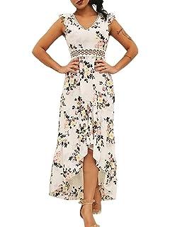 c79afcbb8af5 Glamaker Women's Sexy Cold Shoulder Strap V Neck Boho Floral Dress Maxi  with Slit