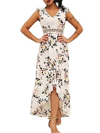 ff08b8500b Glamaker Women's Sexy Backless Ruffles Floral Dresses V Neck Cut Out Maxi  Dress Summer White
