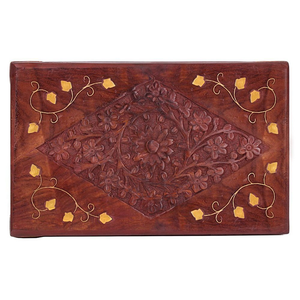 Handcrafted Decorative Wooden Jewelry Trinket Box Organizer with Floral Carvings and Brass Inlay by Store Indya (Image #4)