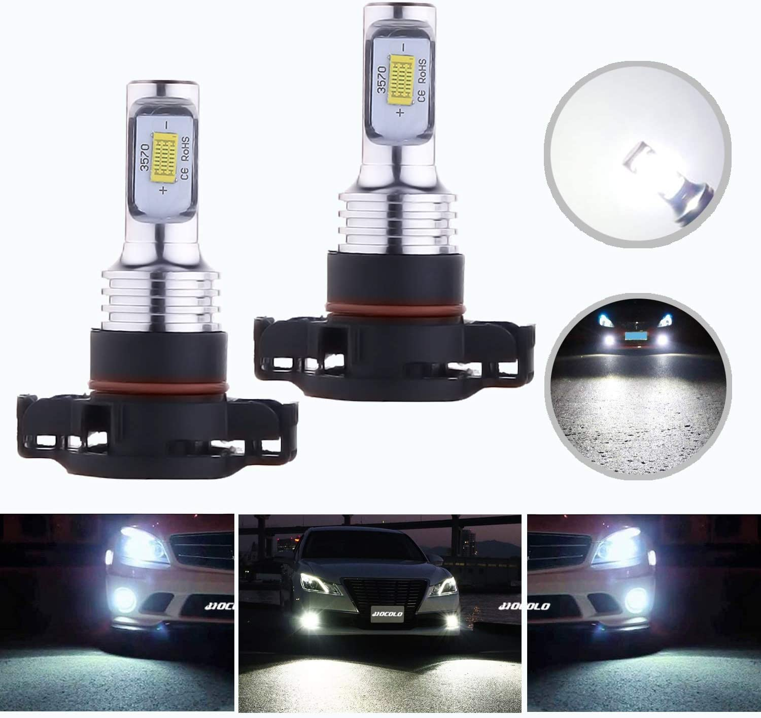 HOCOLO 2x 2504 PSX24W 12276 LED Bulbs 6500K DRL Fog Driving Light Brighting Daytime Running Lamp Replace Halogen 3570 CSP Chips Car Vehicle Parts Plug-N-Play High Power(2504/PSX24W_Fog,White/6000K)