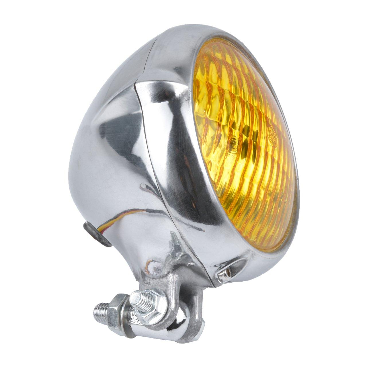 TUINCYN 6/1//2/inch universale moto nera retro singolo rotondo faro lampadina con ambra
