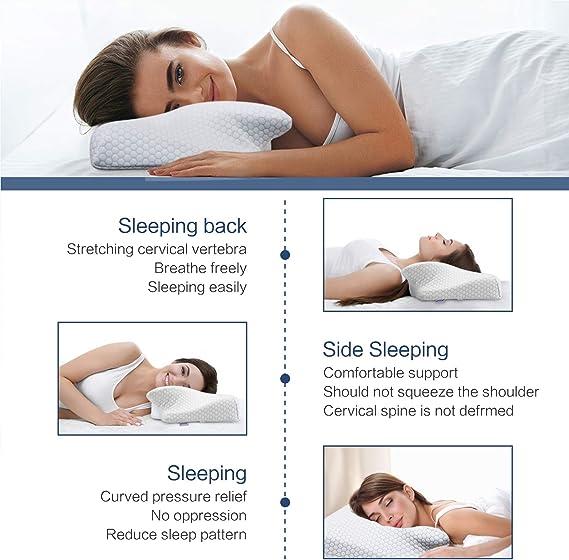 Almohada Cervical Almohadas ergon/ómicas ortop/édicas para Soporte de Cabeza y Hombros HOSPAOP lmohada Espuma de Memoria Contour Neck Almohada Espuma de Memoria para Dormir