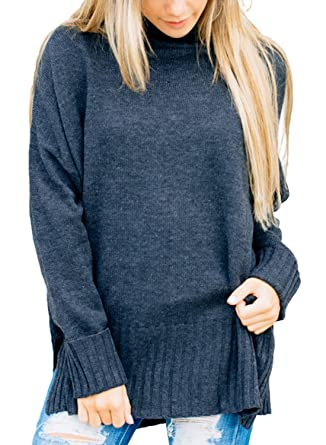 0dbe97a75e Dokotoo Womens Fashion Pullover Soft Winter Autumn Warm Cozy Loose Ladies  Long Sleeve Casual Ribbed Crew