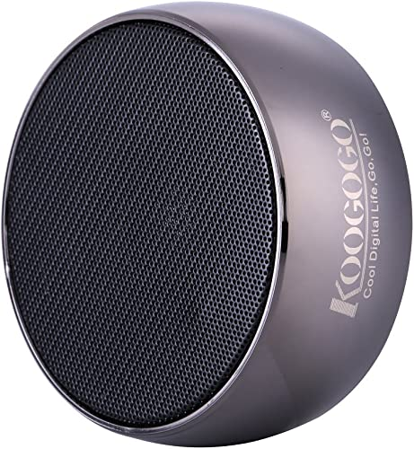 KOOGOGO BS01 Wireless Bluetooth Speaker with Metal Case Powerful Bass Hands-Free Microphone, Mini Portable MP3 Player for Smart Phones, PC and Tablets Metal Grey