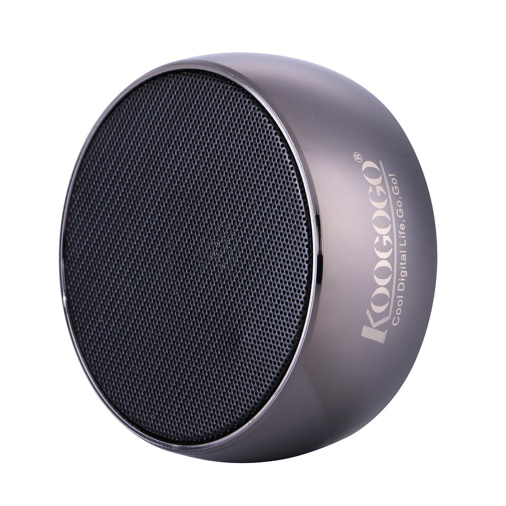 KOOGOGO BS01 Wireless Bluetooth Speaker, Metal Case Powerful Mini Outdoor Speaker with Microphone, Portable MP3 Player for Smart Phones, PC and Tablets (Metal Grey)