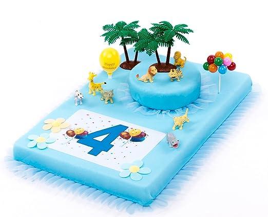 Decoración para tartas Zoo Animales 4. Cumpleaños Niño 16 ...
