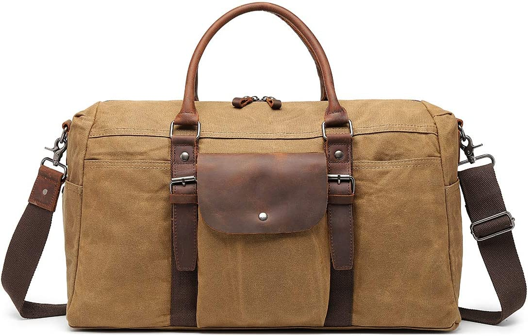 Oversized Travel Duffel Bag Waterproof Waxed Canvas Overnight Carryon Weekend Hand Bags Vintage Leather Trim Brown