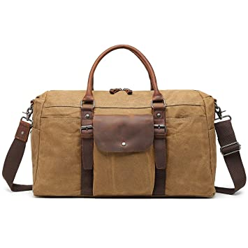Amazon.com  Oversized Travel Duffel Bag Waterproof Waxed Canvas Overnight  Carryon Weekend Hand Bags Vintage Leather Trim Brown  MONHINTY Direct 965db9d676