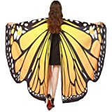Lnefehsh Disfraz de Alas de Mariposa para Mujer,Lenfesh Adulto Mariposa Alas Chal Hada duendecillo Cosplay Capa Disfraces