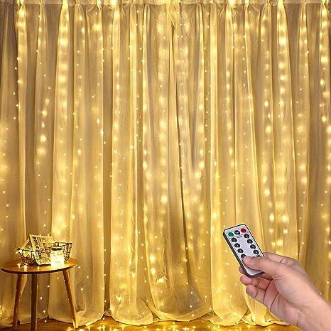Luces LED Cadena de Cortina, DazSpirit luces decorativas de ventana de 3M*3M, Blanco Cálido, 300 LEDs USB 8 Modos y Resistencia al agua, Para Exteriores, Interiores, Navidad, Dormitorios, Techos