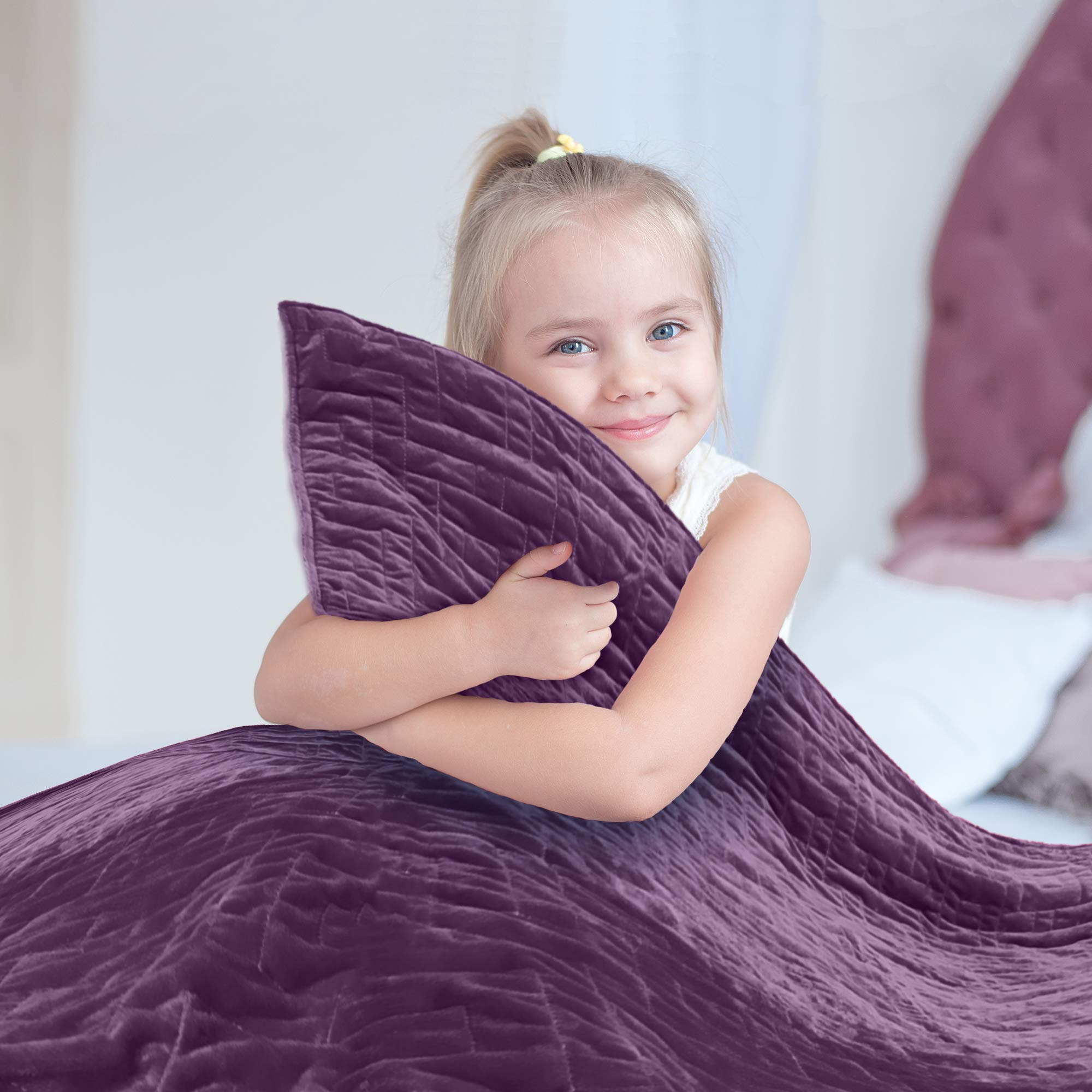 Weighted Blanket for Kids 5 lb, Cool Heavy Blanket for Children 30-40 lbs, Soft Purple Duvet Cover, Premium Cotton with Glass Beads, Perfect for Boys and Girls, Sensory Blankets, Size 36x48in. by Mindful Grasshopper