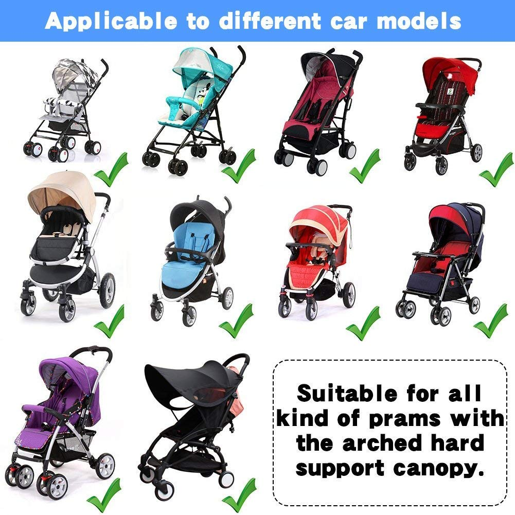 ZLMI Baby Stroller Widen Sun Shade Awning UPF50+ Anti-UV Umbrella Canopy Universal Fit for Stroller Carriage Seat bb car by ZLMI (Image #4)
