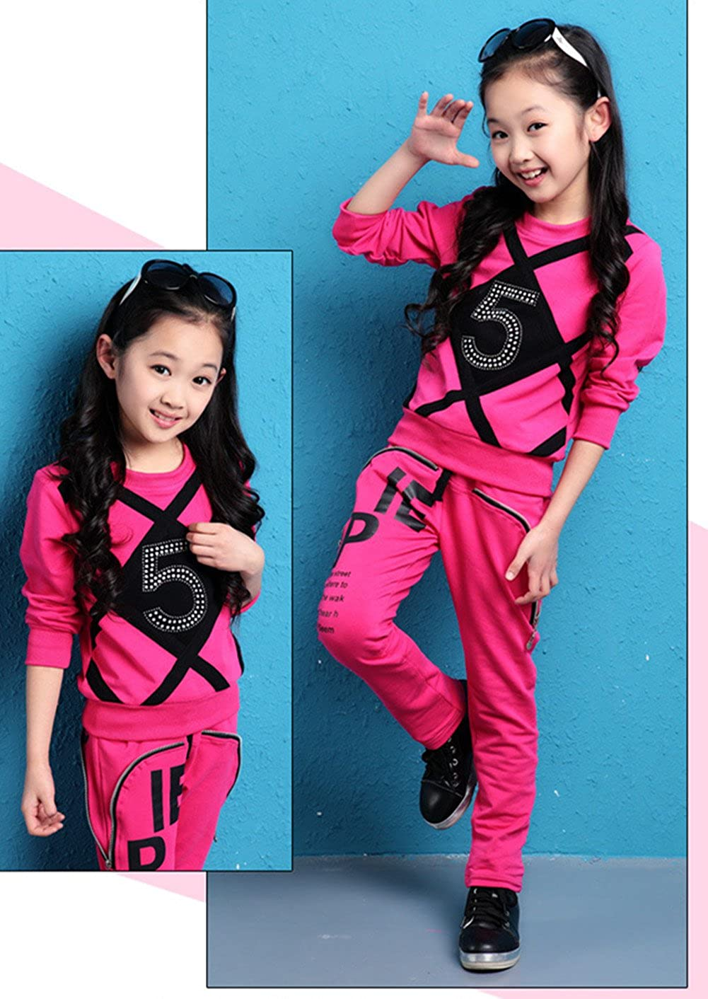 FTSUCQ Girls Pullover Printed Tracksuits Sport Suits Coat Pants