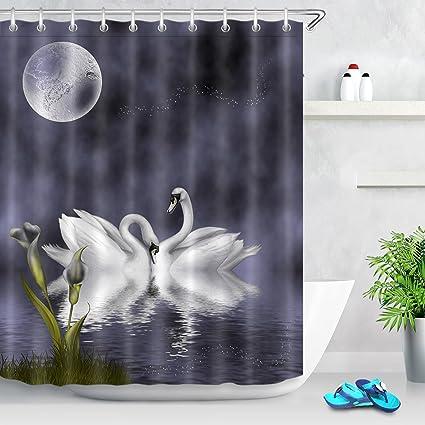Amazon LB Swan Lake Moon Night Calla Lily Shower Curtain Set