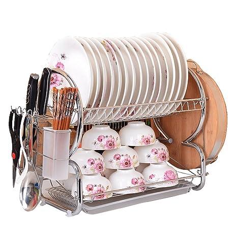 Secador de S Shape – Estante para platos y Drainboard Set Acero Inoxidable escurreplatos