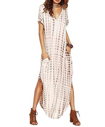 2f510488811cf4 Damen Sommerkleider Strandkleider Casual Maxi Kurzarm Split Dye Lang Kleid  Bohemia Farbe 1 XS