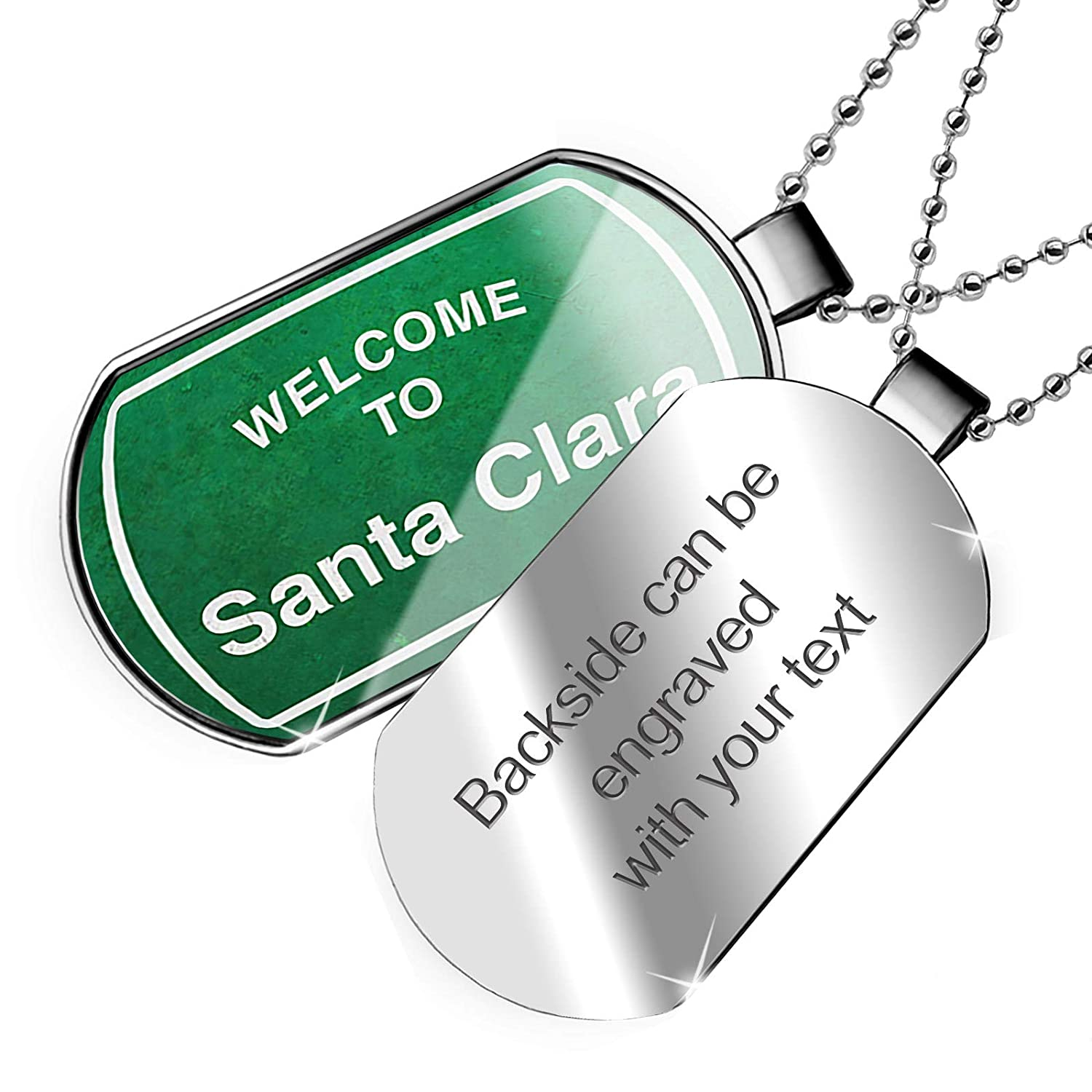 NEONBLOND Personalized Name Engraved Green Road Sign Welcome to Santa Clara Dogtag Necklace