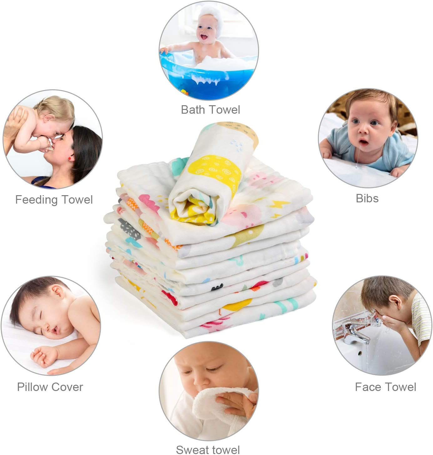 NEWSTYLE 10Pcs Muslin Washcloths Cotton Natural Baby Towels with Printed Design Soft Newborn Baby Face Towel for Sensitive Skin Baby 30 x 30cm