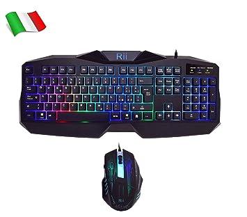Rii - Gaming RK400: Teclado italiano para juegos + Ratón 2000DPI