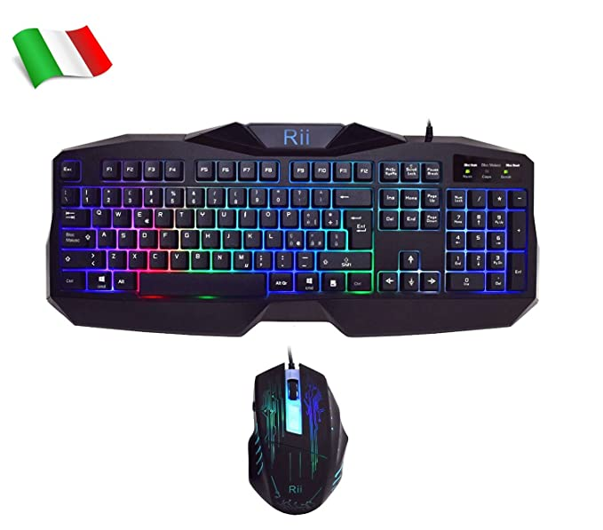 150 opinioni per Rii Gaming RK400 (layout ITALIANO)- Tastiera italiana da gioco + Mouse da gioco