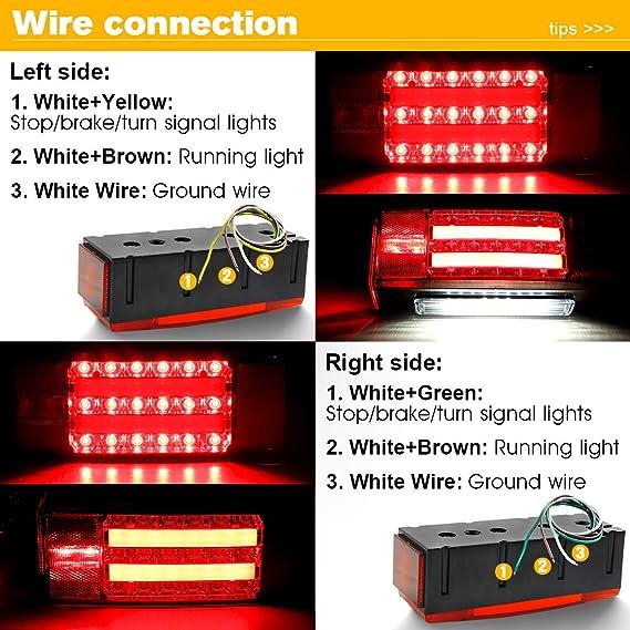 PAIR 12V LED TRAILER TAIL LIGHT KIT BRAKE TURN SIGNAL UTILITY RV/'S BOAT TRUCK US