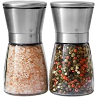 YOMYM Salt and Pepper Grinder set with Stainless Steel Stand Pepper Mill and Salt Mill Salt & Pepper Shakers Spice Grinder with Adjustable Coarseness, Easy to Fill - Brushed Stainless