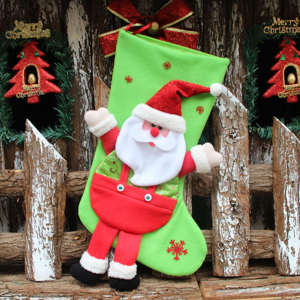 Santa Gift Socks Sack for Kids Presents Xmas Bag Christmas Decoration Stocking Hanging Ornament (A) by Paymenow (Image #1)