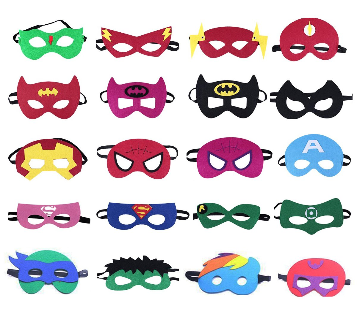 QWER Superheroes Party Masks for Children, 20 Piece by QWER