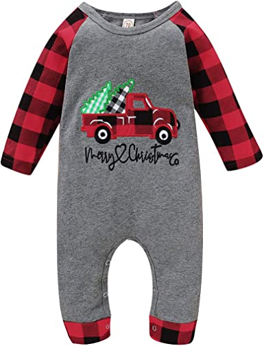 Christmas Romper Newborn Baby Boy Girl Reindeer Print Red Plaid Jumpsuit Pajamas One-Piece Xmas Outfits