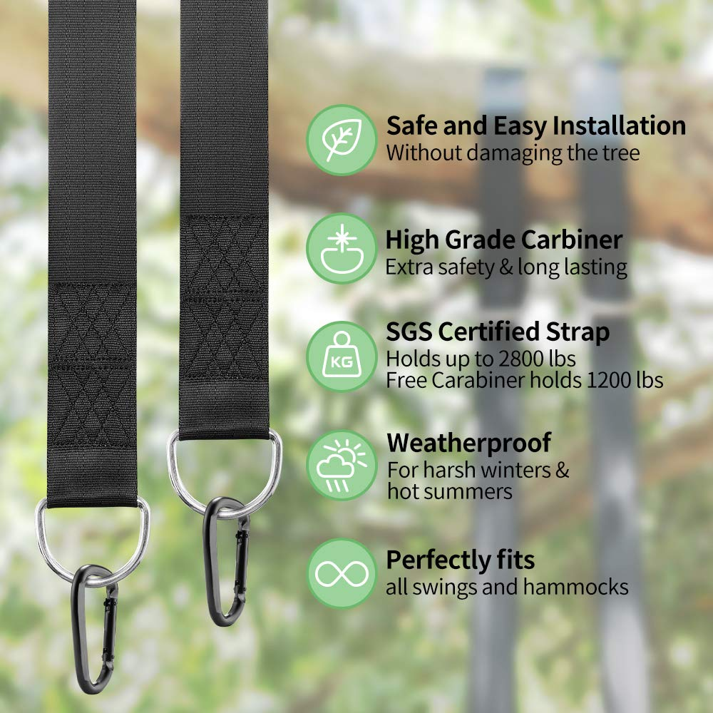 Tree Swing Hanging Kit(Set of 2),GoZheec Tree Swing Straps Holds 2400 lbs Extra Long 10 ft Straps+2 Heavy Duty Carabiners +1 Bonus Spinner for All Kinds of Swings/Hammocks/Mountaineering/Rock (Black)