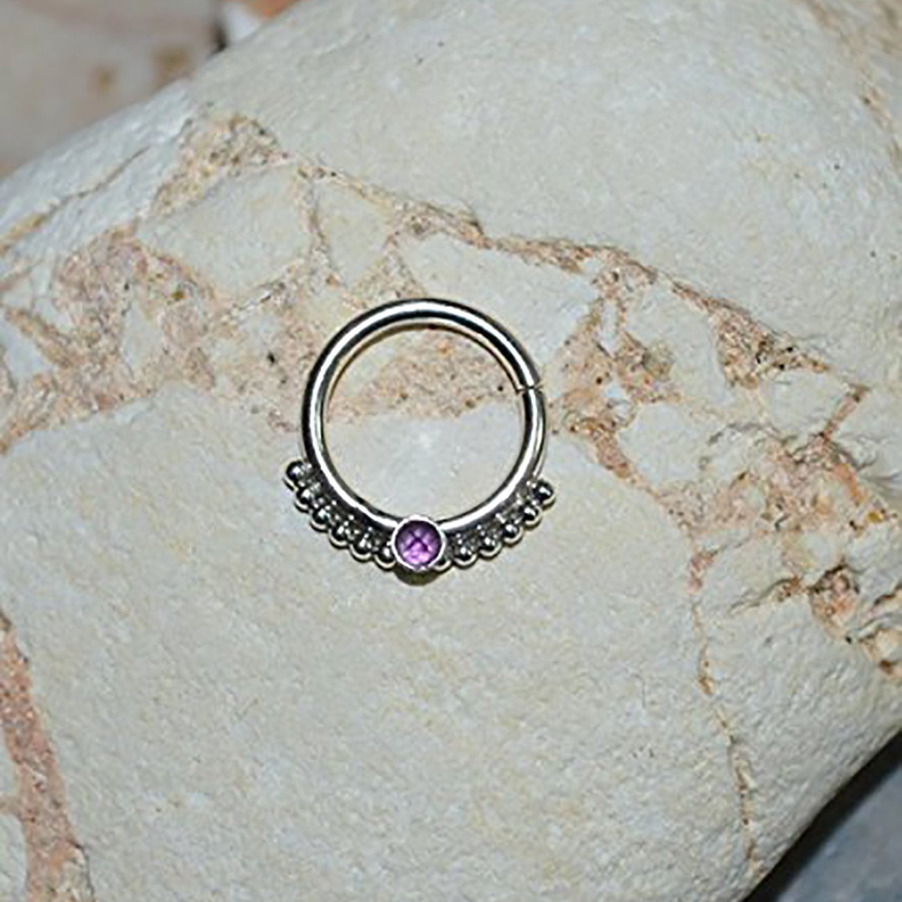 2mm Amethyst NIPPLE RING 16g//Silver Septum Ring - Septum Jewelry - Nipple Piercing - Nipple Jewelry - Body Piercing - Septum Piercing
