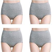 wirarpa Culottes Femmes Coton Taille Haute sous-vêtements Slip Elasticité Boxer Femme Ventre Plat Multipack
