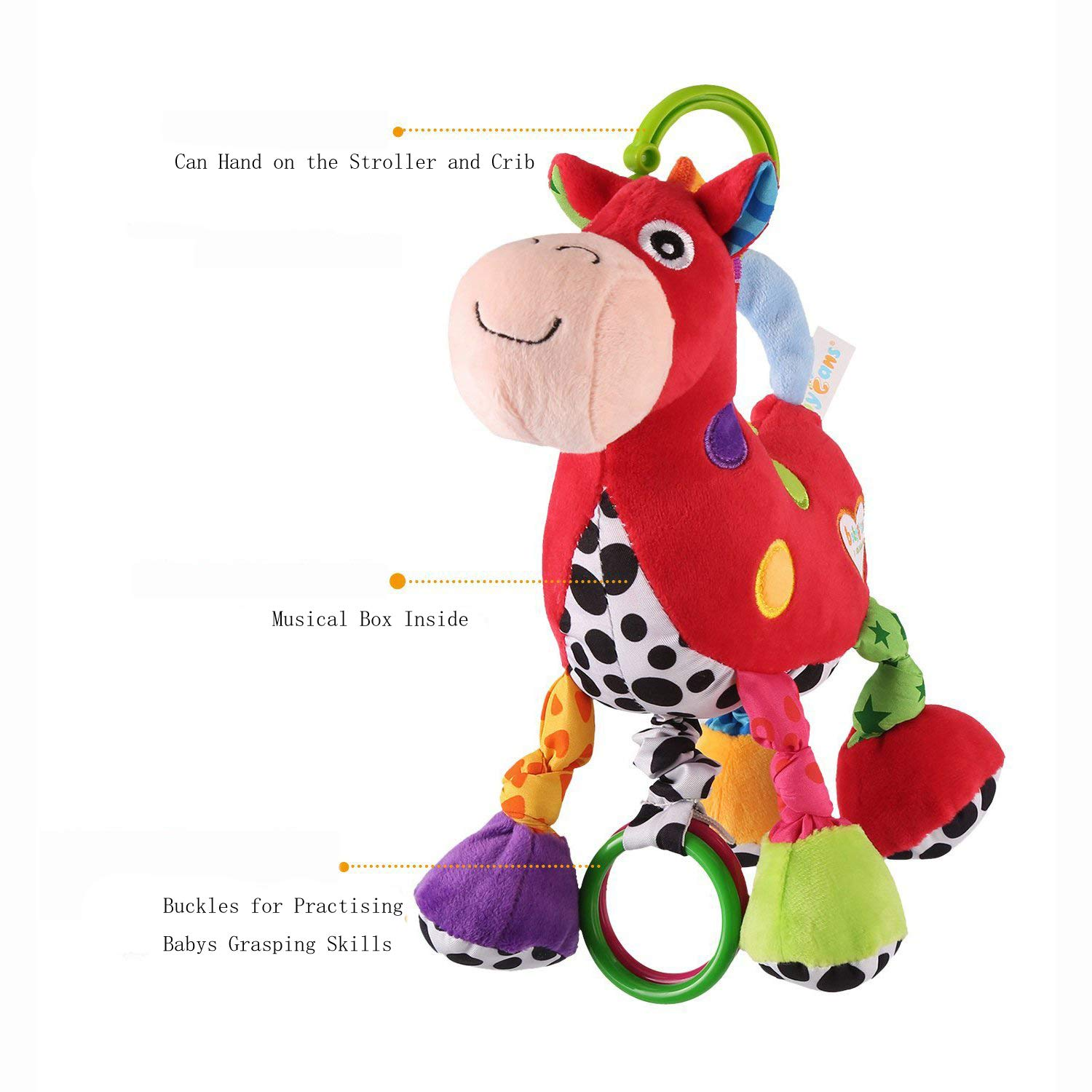 Musical Cute Toy Educational Stuffed Plush Caterpillar Bell Toys For Baby Kids D