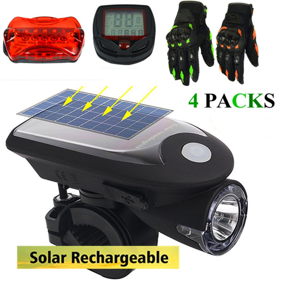 ECOOLBUY 4 PACKS USB Solar Energy Rechargeable Bike Light & Taillight & Bicycle Speedometer & Gloves Set , Headlight Bicycle Front Light Waterproof with 360 Degree Rotating Mount ALS