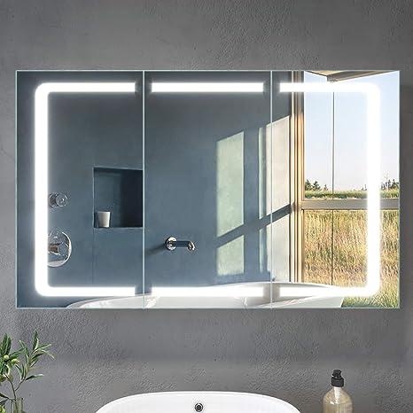 Elegant Led Spiegelschrank 3 Turig 105 X 65 X 13 Cm Badezimmer Spiegel Wandschrank Bad Schrank Mit Beleuchtung Und Steckdose Amazon De Kuche Haushalt