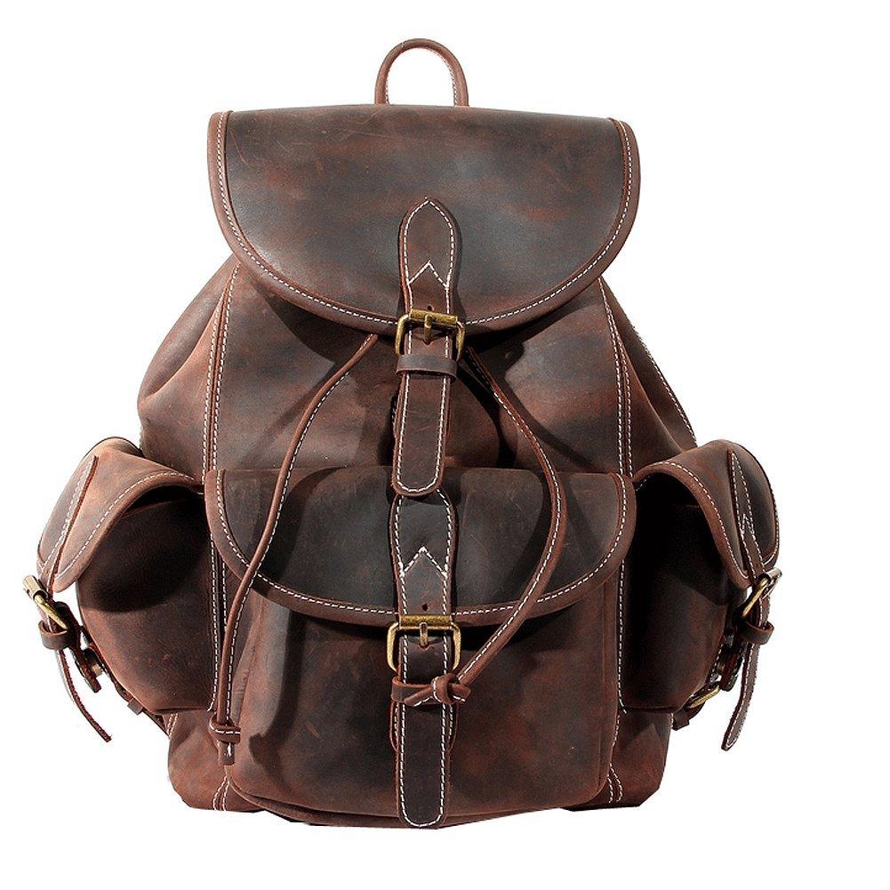 Paonies Women Men Vintage Genuine Leather Backpack Travel School Bags Causal Daypacks