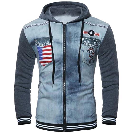 4162fd55c AngelSpace Men's Tunic Hoodie American Flag Sweatshirts with Strings Dark  Grey XL