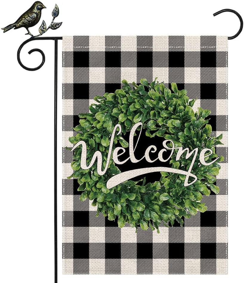 AENEY Welcome Boxwood Wreath Garden Flag 12.5 x 18 Inch Vertical Double Sided Black and White Buffalo Check Plaid Rustic Farmhouse Burlap Flag Yard Lawn Outdoor Decoration Black