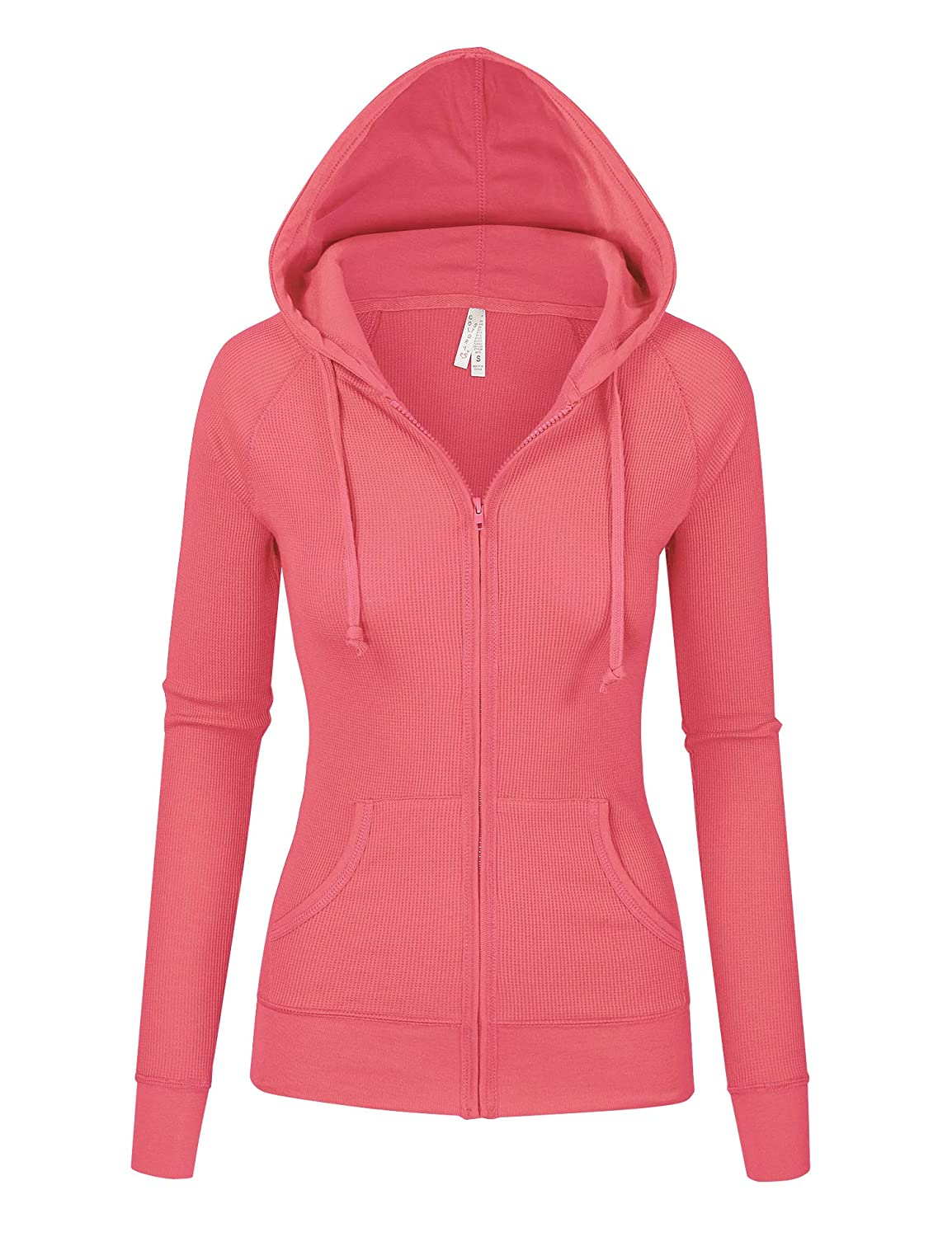 Bright Coral Womens Multi colors Thermal Zip Up Casual Hoodie Jacket S3X