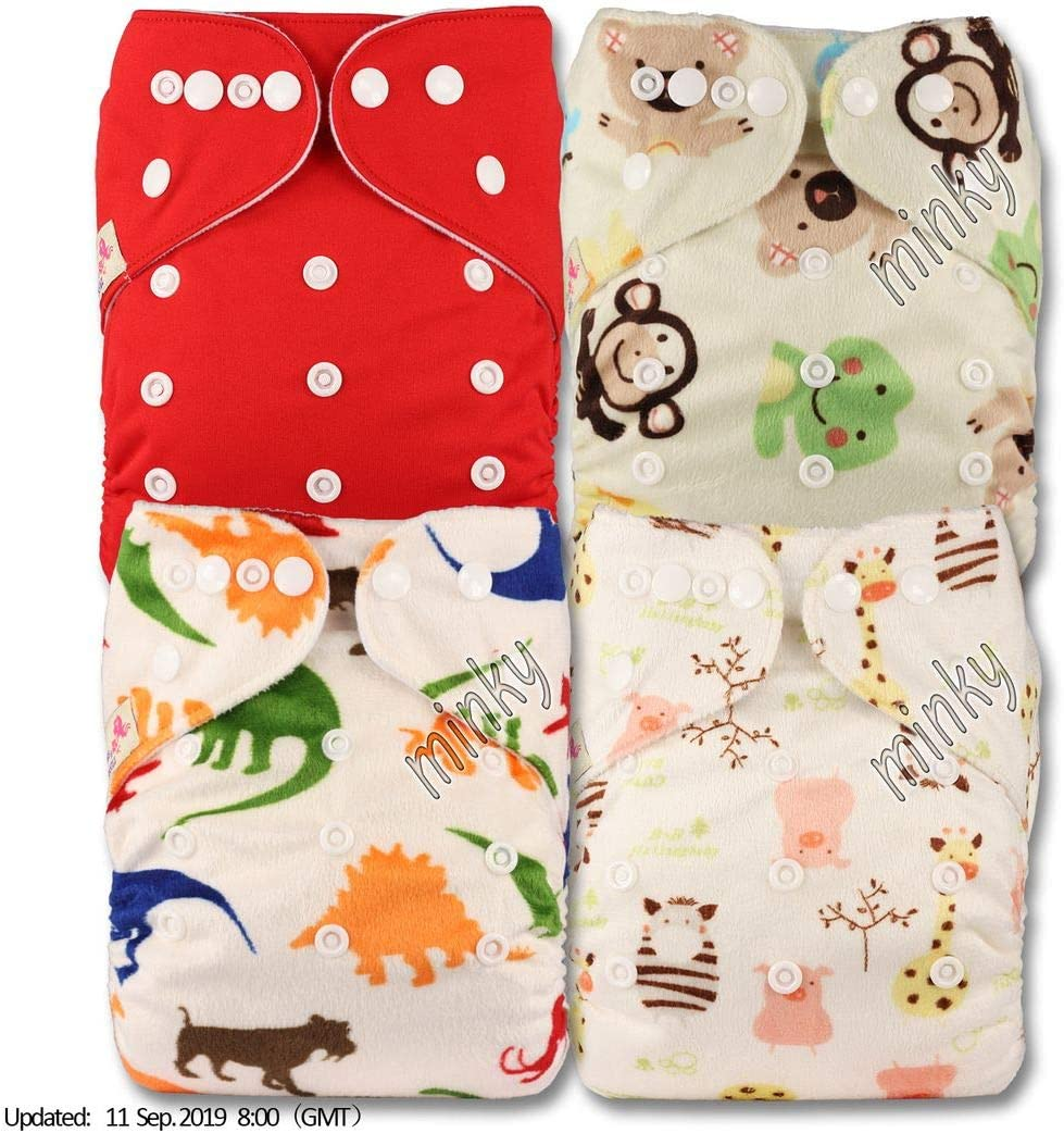 Littles /& Bloomz Reusable Pocket Cloth Nappy Set of 4 Patterns 405 with 8 Microfibre Inserts Fastener: Popper