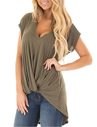 Blooming Jelly Women s Short Sleeve Plunge Deep V Neck Shirt Pleated HI Low  Top Knotted T a1f29d2f7