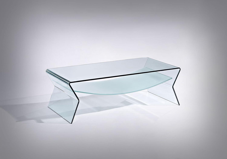 Mesa de café cristal con bandeja, diseño curvado Italiano ...